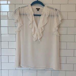 Ann Taylor Factory Cream Pleated Ruffle Top